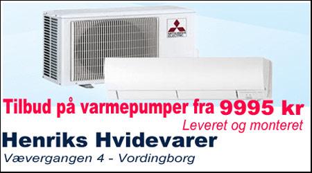 Henriks Hvidevarer i Vordingborg alt i vaskemaskiner, opvaskemaskiner,Varmepumper-fra-9995-kr