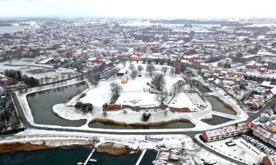 Vordingborg Castle, Slot, Slotsruinen, Voldgraven pakket i sne og snevejr