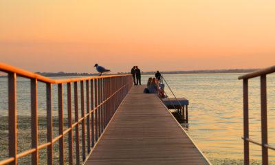 Stege Møn Residens Møen badebro og solnedgang